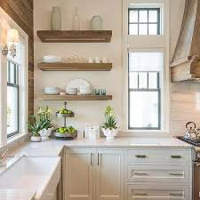 Oak Kitchen Design by Gray Stained Oak Kitchen Shelves Design Ideas