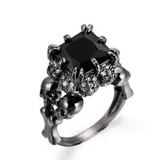 wedding rings women 2017 skull gold rhodium plated princess black zircon women s