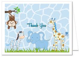 thank you baby shower jungle animals boy baby shower thank you note cards