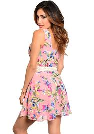 pink floral chiffon skater dress ladies pink floral fashion dress