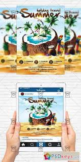 summer holiday travel flyer template instagram size flyer