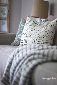 mud cloth pillows in farmhouse living room rustic decor country