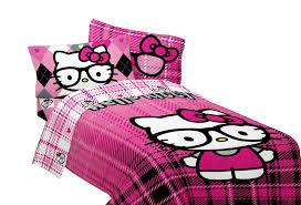 sanrio hello kitty twin full bed comforter i heart nerds pink