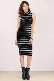 black and white dress mock neck dress midi stripe dress