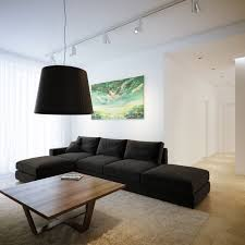 simple living room interior with black linen fabric sofa sleeper