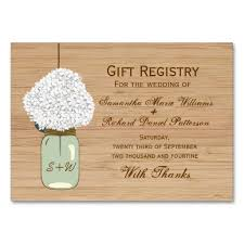 gift registry cards country rustic jar hydrangea gift registry business card