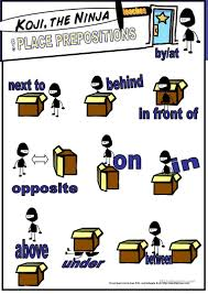 koji the ninja teaches place prepositions worksheet free esl