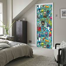 home decor free shipping free shipping graffiti door wall stickers diy mural bedroom home