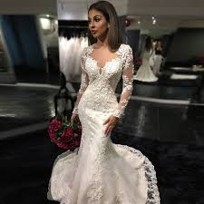 lace wedding dress with sleeves glamorous mermaid lace wedding dress crew neck sleeves