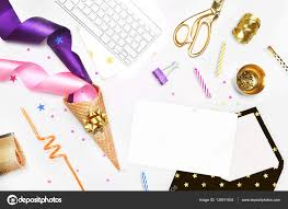 glamour style background flat lay gold and party items cocktail