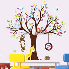 Kid Room Wallpaper by Syene Cartoon Cute Monkey Forest Animals Family Tree Wall Sticker