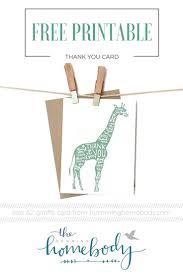 printable giraffe thank you card giraffe free printable and