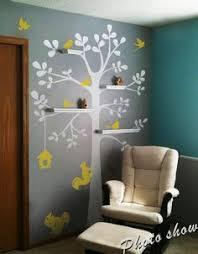 deco arbre chambre bebe stickers arbre turquoise pétrole gris hibou oiseaux décoration