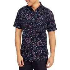 Halloween Hawaiian Shirt by Straight Faded Men U0027s Short Sleeve Fireworks Print Hawaiian Casual