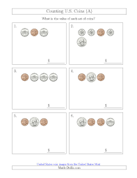 Coin Worksheets Counting Small Collections Of U S Coins A