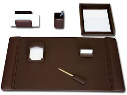 Brown Leather Desk Accessories Chocolate Brown Leather 7 Desk Set Waucustd34040 Wood Arts