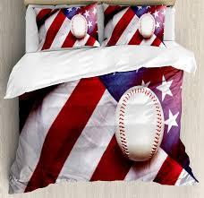 American Flag Duvet American Flag Decor Duvet Cover Set Baseball Soccer Sports Theme