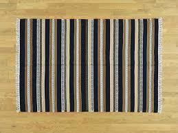 Flat Rug 4 U0027x6 U0027 Hand Woven Striped Reversible Kilim Pure Wool Flat Weave Rug