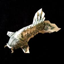 Origami Koi Fish Dollar Bill - koi fish with fluffy 3d figurine money origami made out of