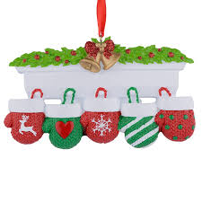 mantel gloves family of 5 polyresin personalized ornaments