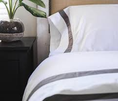banded sheet set in white u0026 navy and more by boll u0026 branch