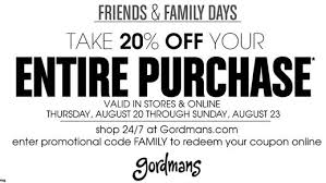 gordman s take 20 your entire purchase in store or