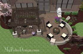 Backyard Brick Patio Design With Grill Station Seating Wall And by Diy Simple Patio Design With Seat Wall Downloadable Plan