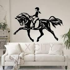 online get cheap wall art stencils aliexpress alibaba group women horse sport wall art sticker equestrian vinyl decal die cut window door room stencil mural