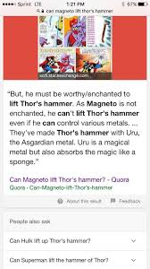can magneto pick up thor s hammer read description marvel