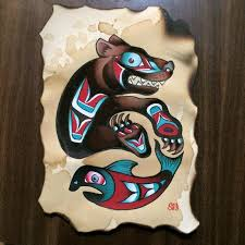 traditional bear and fish tattoo flash painting by sara eve