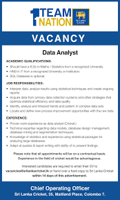 Data Quality Analyst Job Description Data Analyst Sri Lanka Cricket Government Job Vacancies