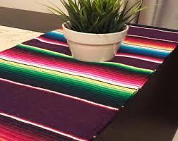 Serape Table Runner White Mexican Serape Etsy