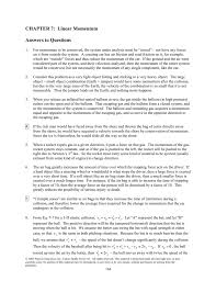 chapter 7 linear momentum answers to questions