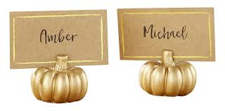 kate aspen pumpkin place card holder set of 6 gold
