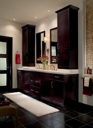 bathroom countertop storage cabinets a vanity with stacked storage on a platform made from the same