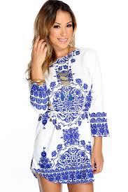 moroccan halloween costume blue white moroccan print waist tie cute dress