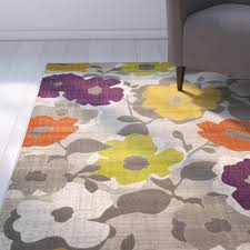 zipcode design nanette grey yellow floral and plant rug