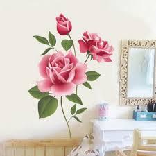 Rose Home Decor New Arrival Romantic Love 3d Rose Flower Wall Sticker Home Decor
