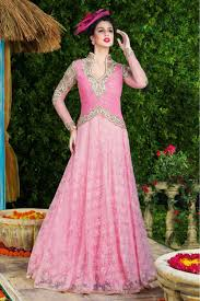semi stitched designer gown in baby pink colour