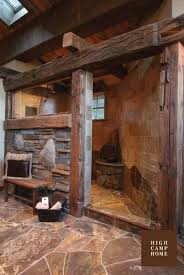 large rustic stone shower for the cabin plus you don u0027t have to go