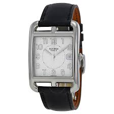 hermes cape cod silver dial black barenia leather ladies watch