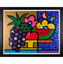 bowl of fruits romero britto bowl of fruit pts21598 the realreal