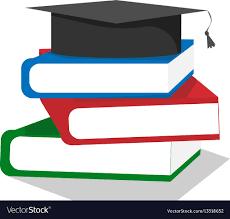 graduation books graduation cap on stuck of books royalty free vector image