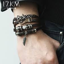 bracelets for 17km 5 kinds design vintage layer leather charms