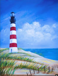 from uptown art i like the lighthouse and the fence the shape of the beach and the perfect lines of grass seem off