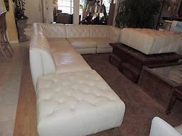 Leather Tufted Sectional Sofa Macy U0027s Natuzzi Rosario Seven Pc Modular White Leather Tufted