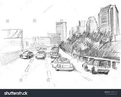 pencil drawing big modern city intensive stock illustration