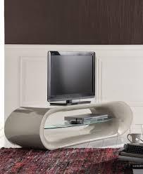 mensole sotto tv porta tv moderno laccato grigio con ripiano vetro forma ovale