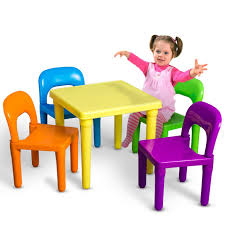 amazon com oxgord pltc 01 kids plastic table and chairs set 4