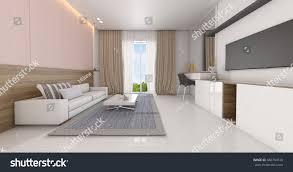 sea view living room modern luxury interior design living room stock illustration